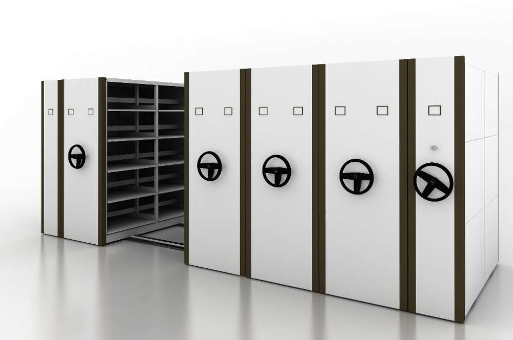High Density Mechanical-Assist Mobile Filing Shelving