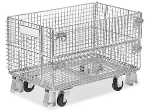 Custom Built Collapsible Wire Container With Casters Material Handling For Auto Parts Storage