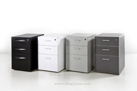 3 Drawer Under Desk Movable Pedestal Storage Cabinet on Casters