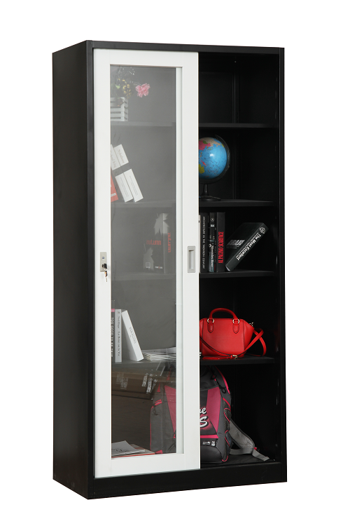 Steel Storage Cupboard With Glass Sliding Doors